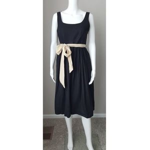 J Crew black linen pleated dress